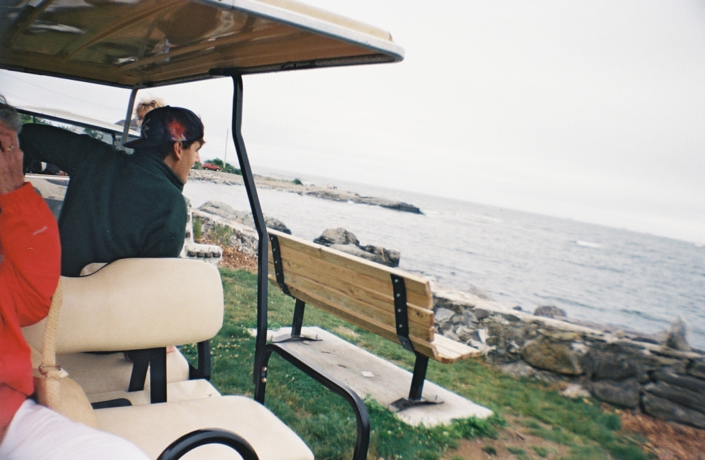 Riding in a golf cart on Peaks Island
